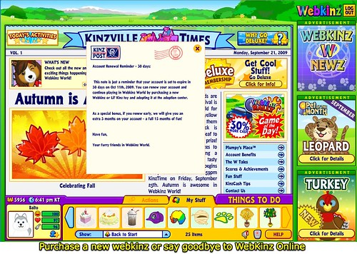 Purchase a new webkinz or say goodbye to WebKinz Online
