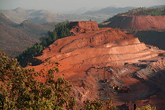 Donimalai Iron Ore Mine-1 (sanmang610) Tags: trees india industry horizontal bench landscape rocks iron mine industrial mining hills mines shovel benches karnataka ore excavator bellary dumper haematite