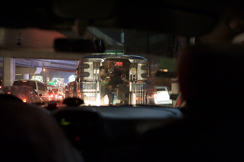 jeepney in traffic in Manila