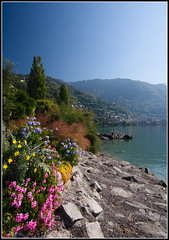 Sunday Afternoon Picnic (GFletch -- persistently behind :)) Tags: pink flowers blue sky lake mountains green water beauty yellow switzerland rocks picnic purple peaceful lakegeneva montreux tokina1224mm supershot ultimateshot canon40d