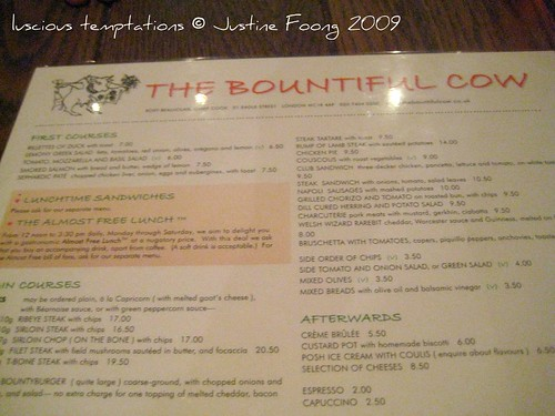 Menu - The Bountiful Cow, Holborn
