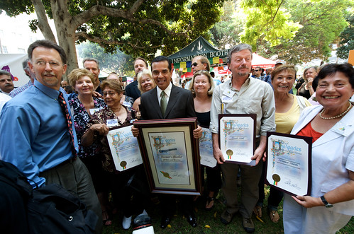 Mayor Antonio Villaraigosa and founders of the farmers' market movement in Los Angeles