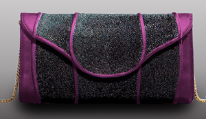 Khirma Eliazov Scalloped Clutch in Purple
