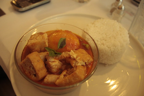 fish and tofu + red curry sauce + rice
