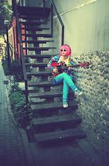 Beating (Manuel Porcari Ch.) Tags: pink blue peru girl japan danger photoshop walking graffiti design photo amazing cool jump lima guitar colorfull great young picture pop electro fotografia prohibido ch celeste rusia electropop manuelporcarichumpitaz