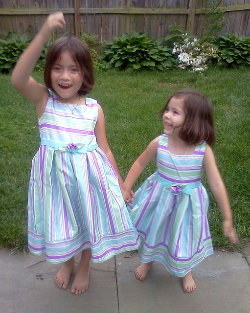 trying on their new dresses