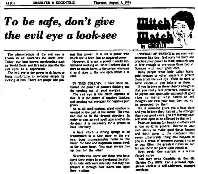 Witch Watch: To be safe, don't give the evil eye a look-see