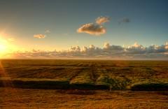 View towards the Waddenzee (jasperzondervan) Tags: blue sunset sea orange sun holland nature netherlands yellow clouds waddenzee landscape zonsondergang nederland zee groningen hdr kwelder