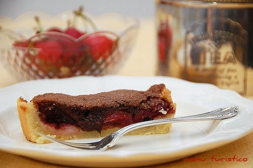 tarte aux cerises et chocolat