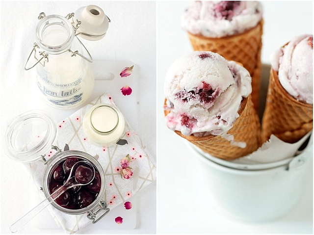 Cherry-Rose and Coconut Ice Cream