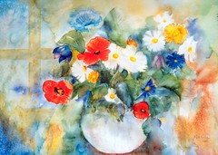 Art: Watercolour: ...charming poppies in a rural flowerbunch... (Nadia Minic) Tags: flowers floral rural fleurs interestingness aquarelle blumen poppies bunch watercolour bouquet luxembourg aquarell klatschmohn coquelicots lndlich lenningen blumenstrauss nadiaminic nadiaart