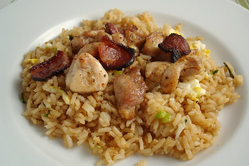 Broiled Chicken with Bacon over Egg Fried Rice
