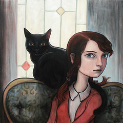 """The Study"" (verpabunny) Tags: original blackcat painting artwork acrylic gallery interior thinkspace kellyvivanco theconservatory"