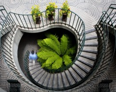Spiral Staircase II (~ superboo ~ [busy busy]) Tags: sanfrancisco motion green architecture stairs spiral movement stair pattern 100v10f tiles staircase embarcadero geometrical curved circular spiralstaircase orton