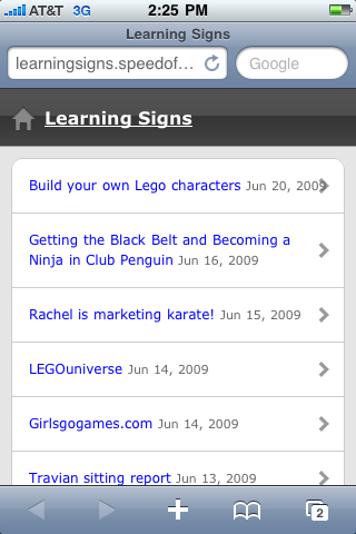 Mobile version of our family learning blog