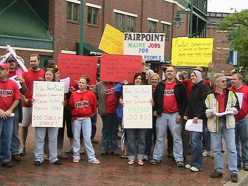 ME: IBEW 2327 Leaflets against FairPoint outside Seadogs Stadium