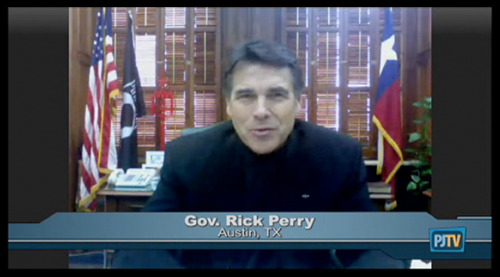 Governor Rick Perry on PJTV with Glenn Reynolds (Instapundit)