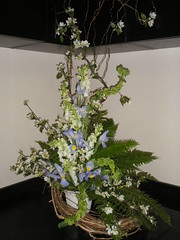 GA027  Asymmetrical Sympathy Arrangement with ferns & iris
