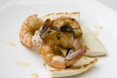 Roasted Shrimp on pita