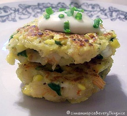 Grilled Corn & Shrimp Cakes