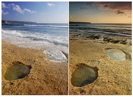 pantai dreamland, jam 4 sore dan jam 6 sore
