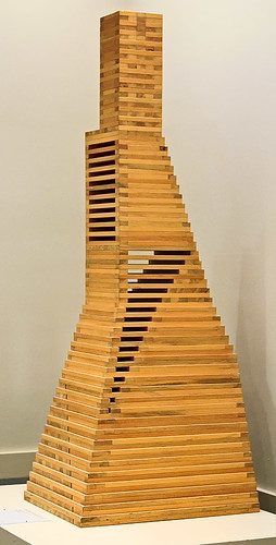 "Sugar pine sculpture, ""Trid"", by Jackie Ferrara, American, 1978, at the Saint Louis Art Museum, in Saint Louis, Missouri, USA"