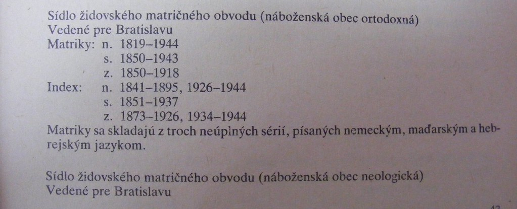 Jewish vital records - Bratislava