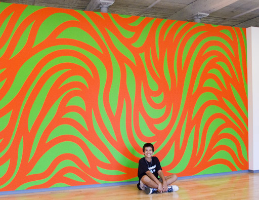One of the Sol LeWitt wall paintings at Mass MOCA