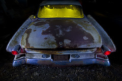 The Pioneering Spirit (Lost America) Tags: lightpainting abandoned night fullmoon dodge junkyard pioneer dart 1961 nocturnes thebigm