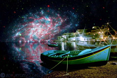 Cosmic Shores (jrtce1) Tags: composition photoshop boat ship space nasa greece telescope fantasy sciencefiction greekislands hubble amorgos starfilter pentax645 scifiart platinumphoto jrtce1 redmatrix nasaremix scifigalaxyhubble surrealspaceart scififineart whaticallart