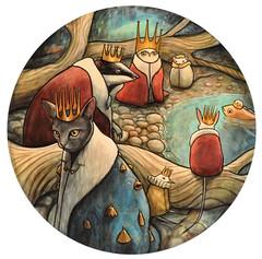 """The Gathering"" (verpabunny) Tags: seattle original fish bird art bells cat painting circle october acrylic gallery circles shoreline badger owl halogen vole cloaks crowns kellyvivanco jeroba halogengallery"