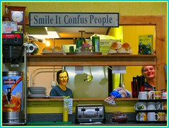 "Smile it ""confus"" people - Mama's Restaurant (juliealicea1947) Tags: sign restaurant louisiana confused sorrento misspell mamasrestaurant"