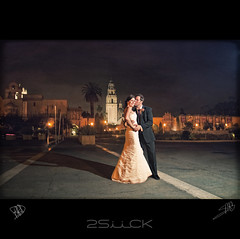 Alone At Last...... (BigBoyDrums (www.hectorcruzphoto.com)) Tags: park lighting wedding love night nikon kiss san dress sigma diego husband val tuxedo wife 28 prado balboa cls d300 sb800 1850mm strobist smgallery bigboydrums 2siick