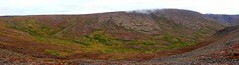 Crescent Valley (Travis S.) Tags: red autostitch panorama green yellow alaska panoramic crescent valley horseshoe nome northeast survey tundra solifluction sewardpeninsula sloughing stewartriver sluffing stewartrivericepatchsurvey