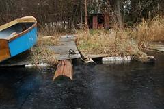 Blue boat on Dock on icy winter Day (PJ Peterson) Tags: frozenlake kitsapcounty bucklake hansvillewashington
