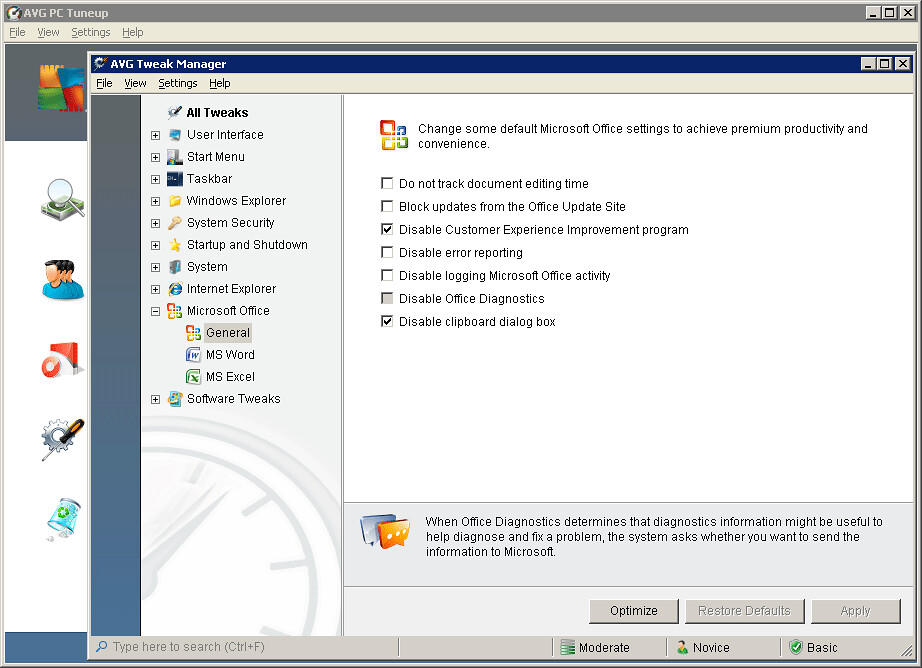 AVG Tweak Manager - Microsoft Office Optimization