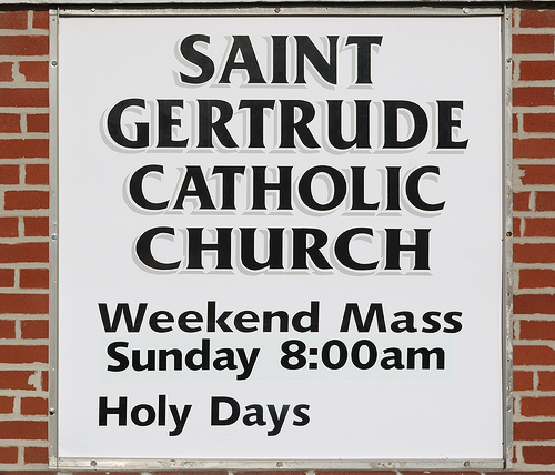 Saint Gertrude Roman Catholic Church, in Grantfork, Illinois, USA - sign