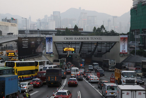 "Sign at the tunnel portal - ""Happy Valley exit congestion"""