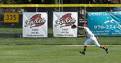 champs twice (Paul L Dineen) Tags: baseball mcbl fortcollins citypark foxes fortcollinsfoxes bandits triplecrown triplecrownbandits sports 2011 catch outfield leftfield sign action smnotchecked mcblcsl baseballnov17 college city otscgen2