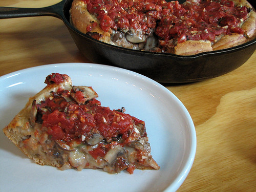 cast iron deep dish, ready to eat