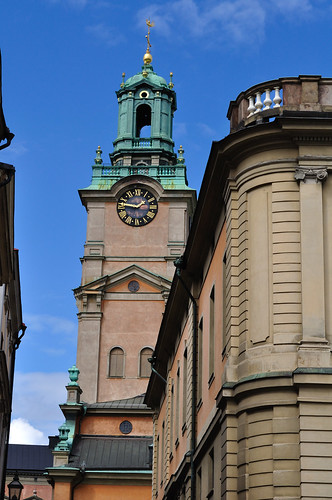 Clock tower of Storkyrkan at Gamla stan, Stockholm -- Full-sized Nikon D5000 image, with RAW / NEF file download -- DSC_3149