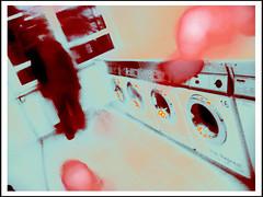 im Waschsalon (sulamith.sallmann) Tags: family people man berlin male deutschland person familie technik menschen technic technical transparency mann washingmachine effect deu effekt personen mensch gerte waschmaschine folie gert haushalt enkidu technisches haushaltsgerte sulamithsallmann farbfolie