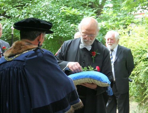 Handing over the rose