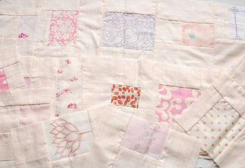 pink messy squares quilt wip