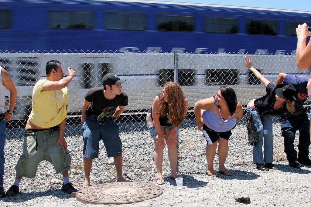 girls Street group mooning ass