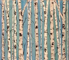 Birch Trees on Sky Blue (kristen dougherty) Tags: blue sky white black tree art forest painting acrylic canvas birch aspen