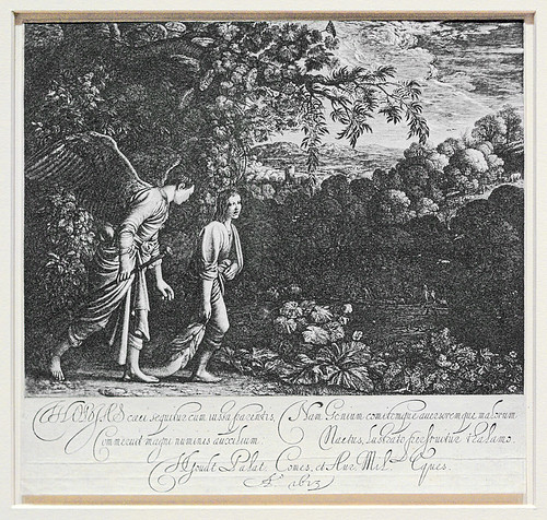 "Engraving, ""Tobias with the Angel"", by Hendrick Goudt, 1613, at the Saint Louis Art Museum, in Saint Louis, Missouri, USA"
