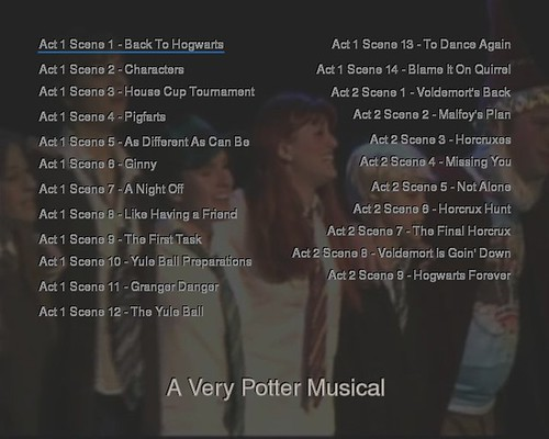 A Very Potter Musical dvd menu