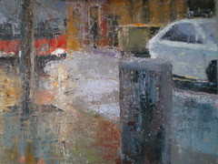 Coche blanco (Magi Batet) Tags: barcelona lluvia 2009 pintura leo paisajeurbano noubarris