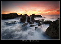 Winter Dawn Over Forresters (brentbat) Tags: ocean sunrise rocks waves explore frontpage forresters